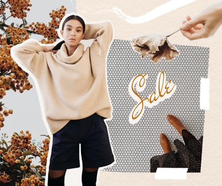 Autumn Sale Announcement with Girl in Stylish Outfit Facebook – шаблон для дизайна