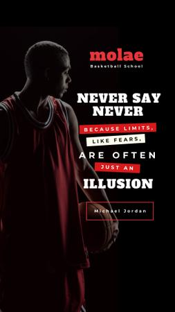 Sports Quote with Basketball Player holding Ball Instagram Story – шаблон для дизайна