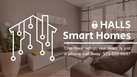 Smart Home Digital Icon on House Network Full HD video Modelo de Design