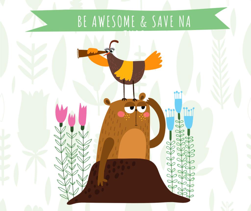 Funny Animals exploring Nature — Crear un diseño