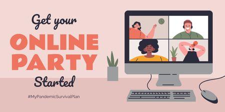 Plantilla de diseño de #MyPandemicSurvivalPlan People having Party Online Twitter