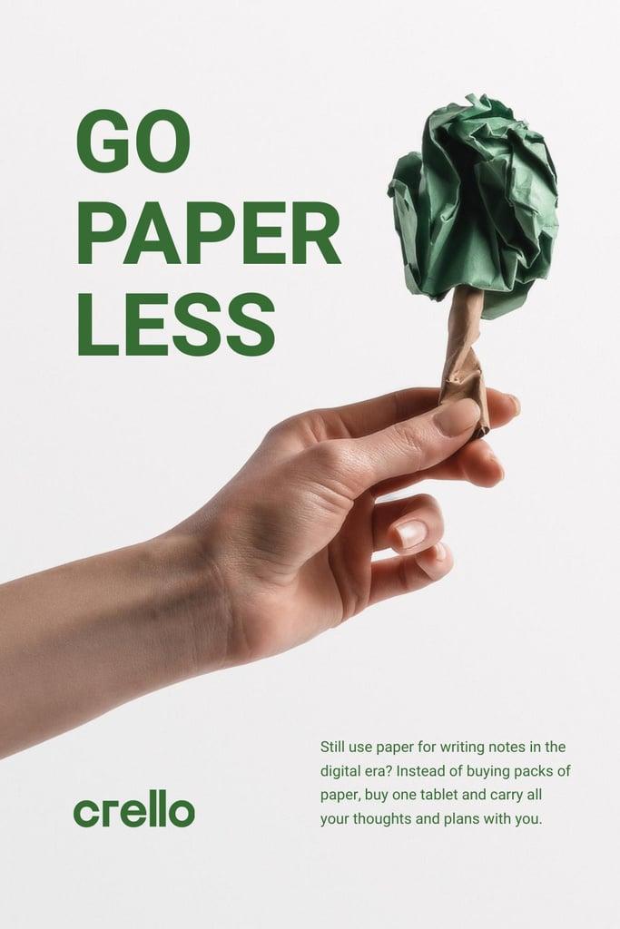 Szablon projektu Paper Saving Concept with Hand with Paper Tree Pinterest