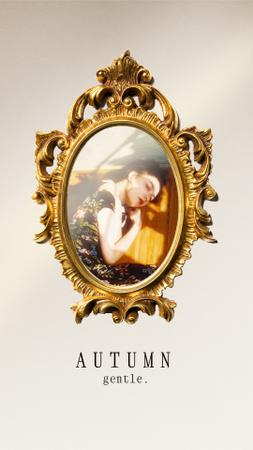 Autumn Inspiration with Woman in Golden Vintage Mirror Instagram Story Modelo de Design