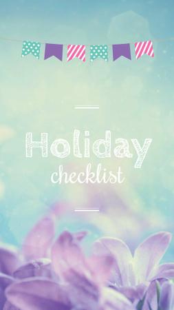 Holiday Checklist ad with Purple Flowers Instagram Story – шаблон для дизайну