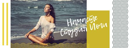 Woman practicing Yoga by the sea Facebook cover – шаблон для дизайна