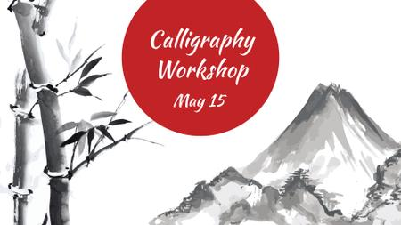 Ontwerpsjabloon van FB event cover van Calligraphy Learning with Mountains Illustration