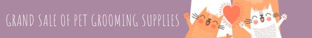 Grand sale of pet grooming supplies Leaderboard Modelo de Design