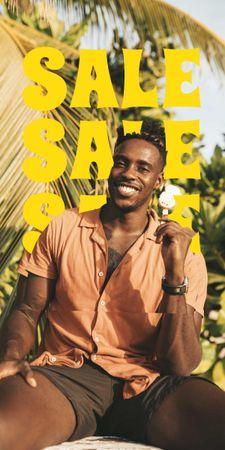 Plantilla de diseño de Summer Sale Ad with Smiling Young Man Graphic