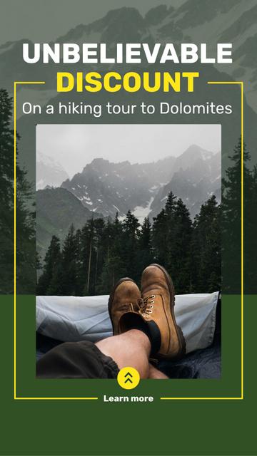 Mountains Hiking Tour Offer Traveler Enjoying View Instagram Story Design Template