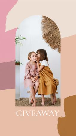 Giveaway announcement with Kids sharing Secret Instagram Storyデザインテンプレート