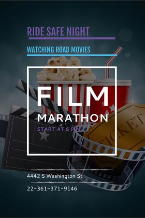 Designvorlage Movie Night Invitation with Cinema Attributes für Pinterest