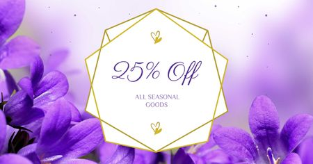 Modèle de visuel Seasonal Goods Offer with Violets - Facebook AD