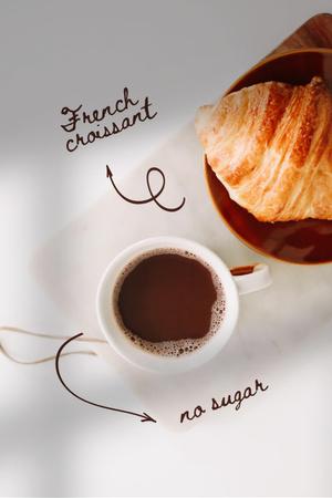 Plantilla de diseño de French Croissant and Coffee Pinterest
