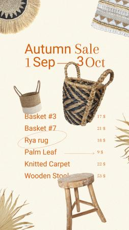 Ontwerpsjabloon van Instagram Story van Autumn Sale with Wooden Chairs and Handmade Baskets