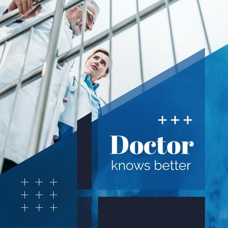 Template di design Team of Doctors Talking in Blue Instagram AD