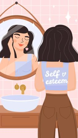 Self Esteem Inspiration with Girl admiring in Mirror Instagram Story Design Template