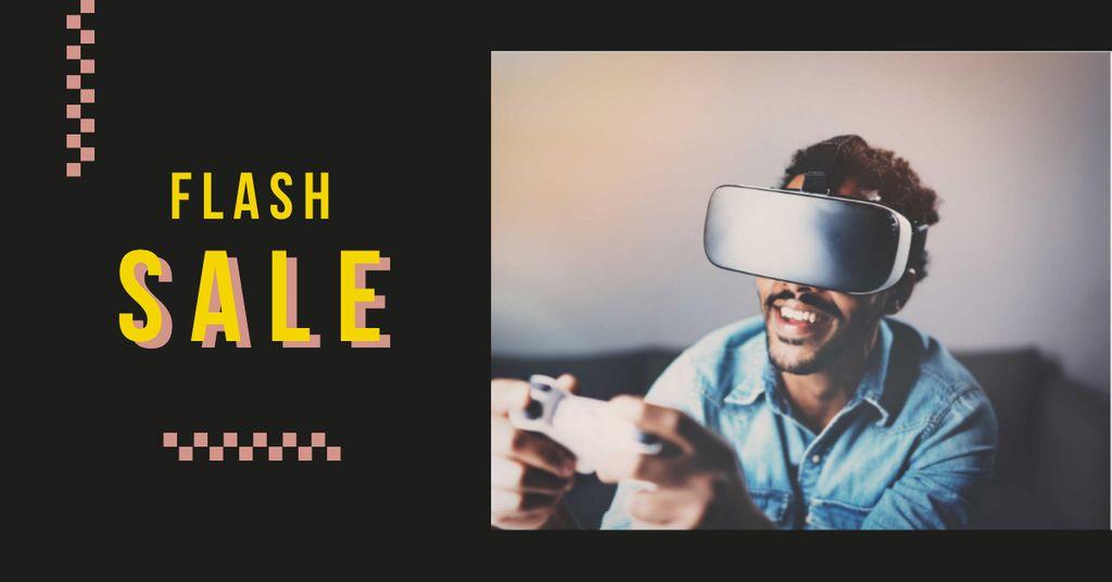 Modèle de visuel Flash Sale with Man in VR Glasses - Facebook AD