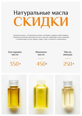 Beauty Products Sale with Natural Oil in Bottles Poster – шаблон для дизайна