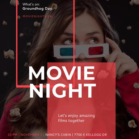 Movie Night Event Woman in 3d Glasses Instagram AD Modelo de Design