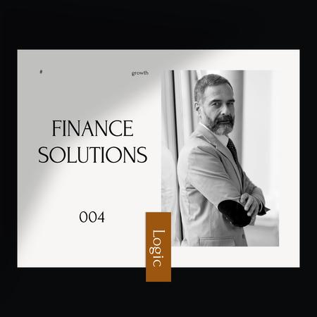 Confident Businessman for Finance Solutions Instagram Modelo de Design