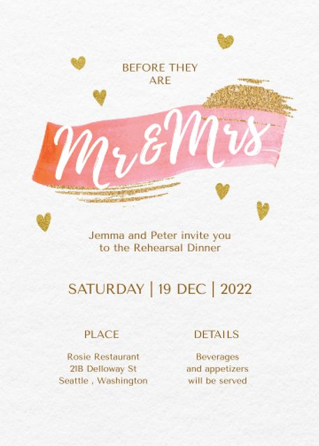 Rehearsal Dinner Announcement with Golden Hearts Invitation Design Template