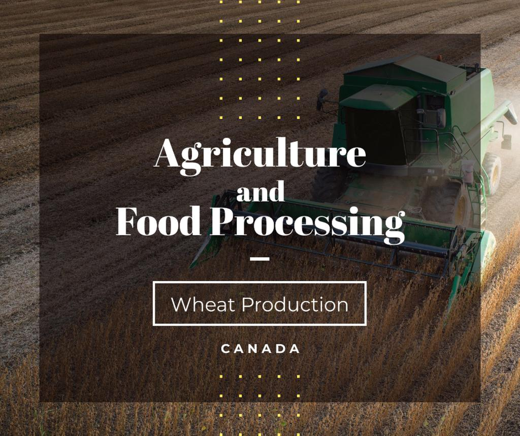Szablon projektu Canada Agriculture Harvester working in field Facebook