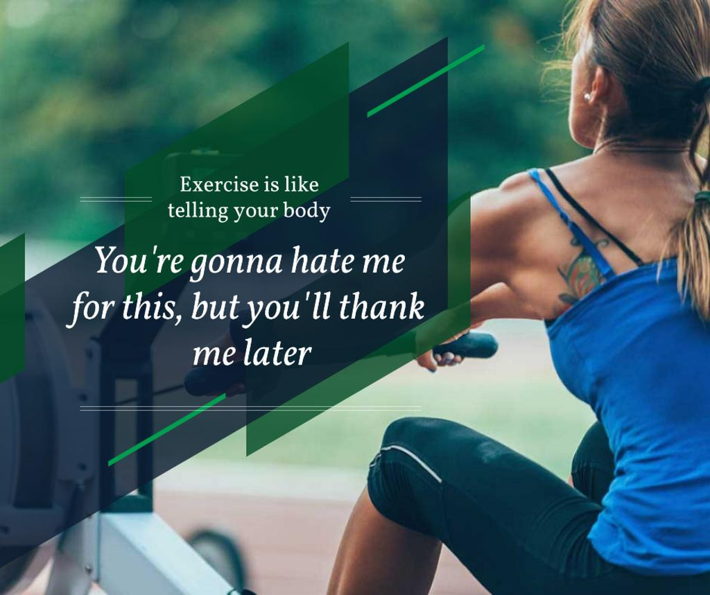 Sporty young Woman with motivational quote — Crear un diseño