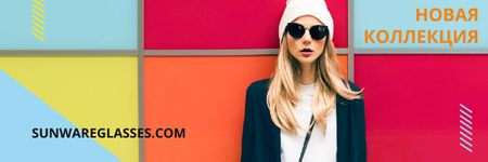Sunglasses Ad with Beautiful Girl on Bright Wall Email header – шаблон для дизайна