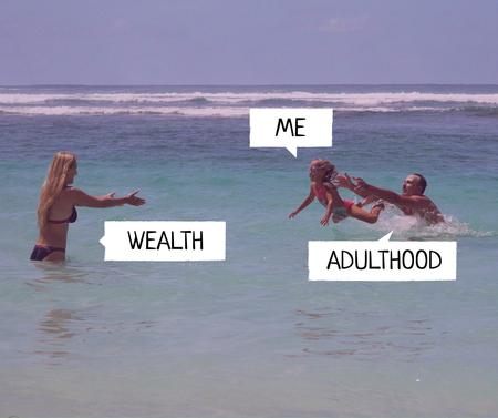 Adulthood ironic image with Family at Sea Facebook – шаблон для дизайна