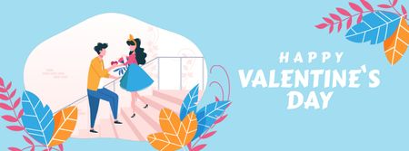 Ontwerpsjabloon van Facebook Video cover van Boy giving Valentine's Day Bouquet to Girl