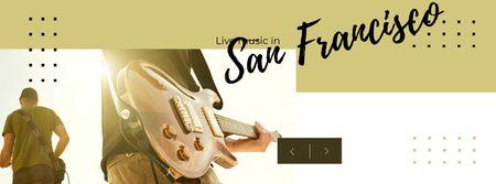 Plantilla de diseño de Music Concert Announcement with Man playing Guitar Facebook cover
