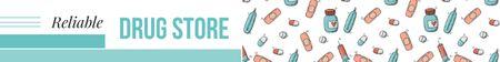 Drugstore Ad Assorted Pills and Capsules Leaderboard – шаблон для дизайну