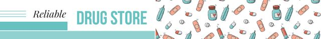 Ontwerpsjabloon van Leaderboard van Drugstore Ad Assorted Pills and Capsules