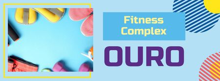 Plantilla de diseño de Fitness Equipment Offer in Blue Facebook cover
