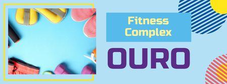Ontwerpsjabloon van Facebook cover van Fitness Equipment Offer in Blue