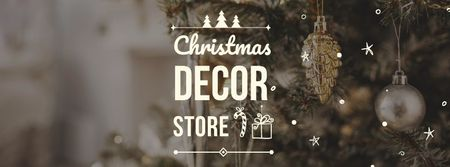 Plantilla de diseño de Christmas Decor store Offer Facebook cover