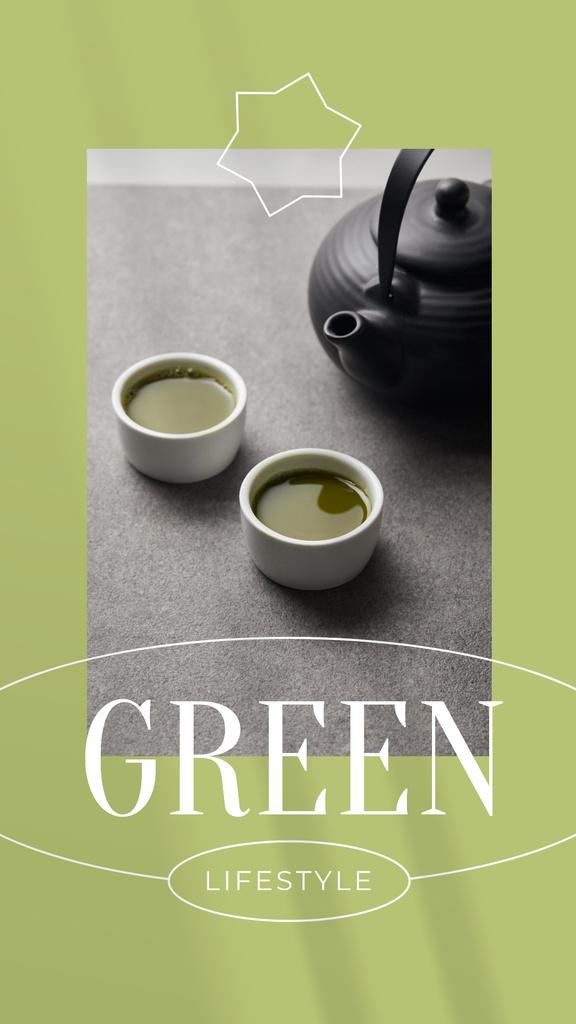 Designvorlage Green Lifestyle Concept with Tea in Cups für Instagram Story