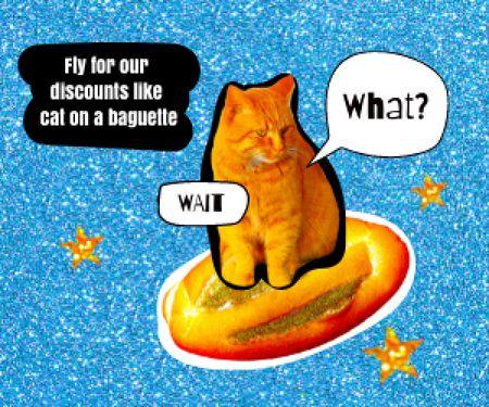 Plantilla de diseño de Funny Cat flying on Bread Medium Rectangle