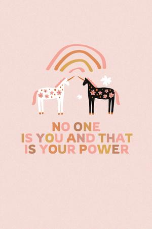 Girl Power Inspiration with Cute Unicorns Pinterest Design Template