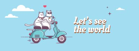 Modèle de visuel Motivational travel quote with cats on Scooter - Facebook cover