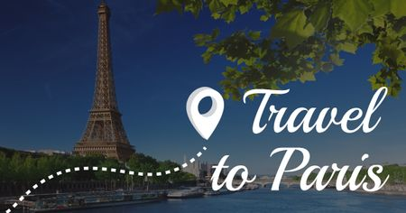 Paris tour Advertisement with Eiffel Tower Facebook ADデザインテンプレート