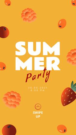 Plantilla de diseño de Summer Party Announcement with Raspberries and Strawberries Instagram Story