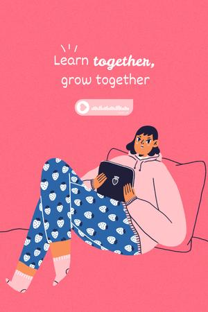 Template di design Girl Power Inspiration with Cute Girl in Bed Pinterest