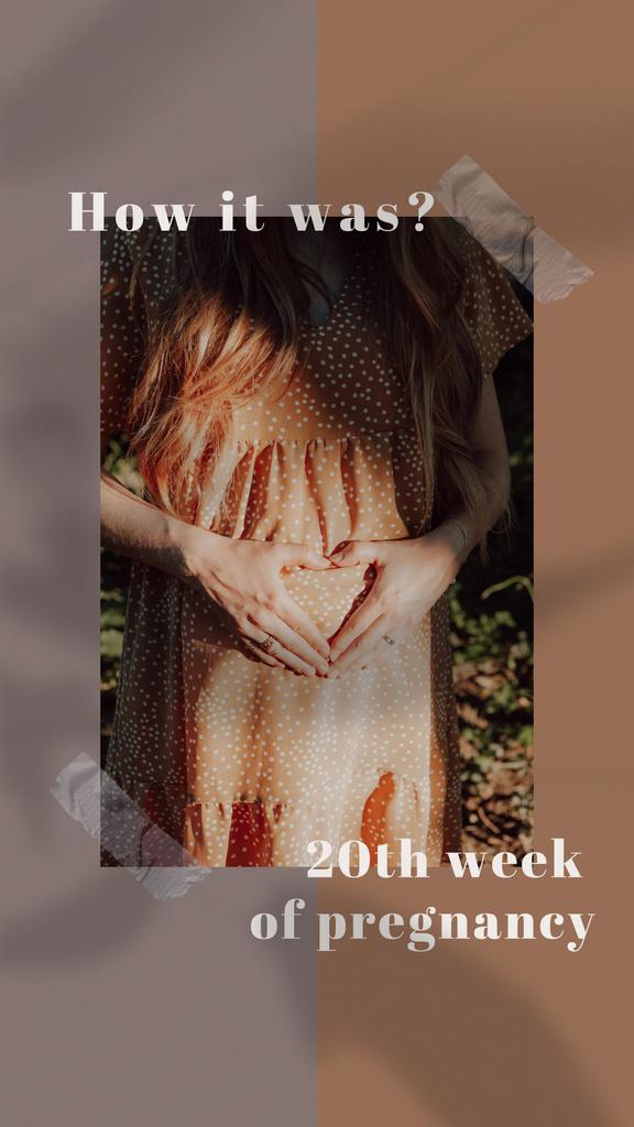 Designvorlage Happy Pregnant Woman showing Heart on Belly für Instagram Story