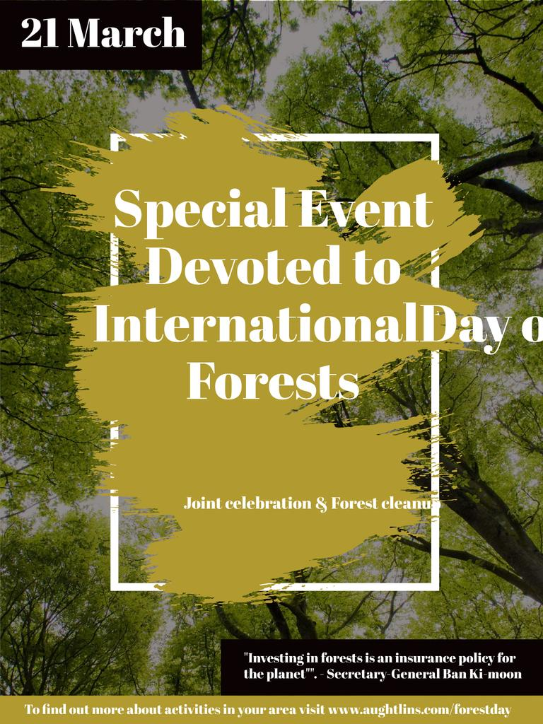 Plantilla de diseño de International Day of Forests Event Tall Trees Poster US
