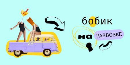 Crazy Illustration with Dogs driving Vintage Car Twitter – шаблон для дизайна