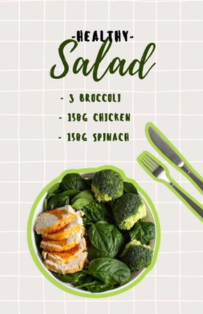 Template di design Healthy Salad with Broccoli and Chicken Recipe Card