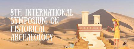 Modèle de visuel Archaeologist Wiping Dust on Ruins - Facebook Video cover