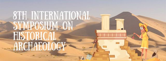 Plantilla de diseño de Archaeologist Wiping Dust on Ruins Facebook Video cover