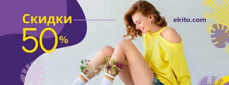 Shop Sale with Girl with Flowers in socks Facebook cover – шаблон для дизайна